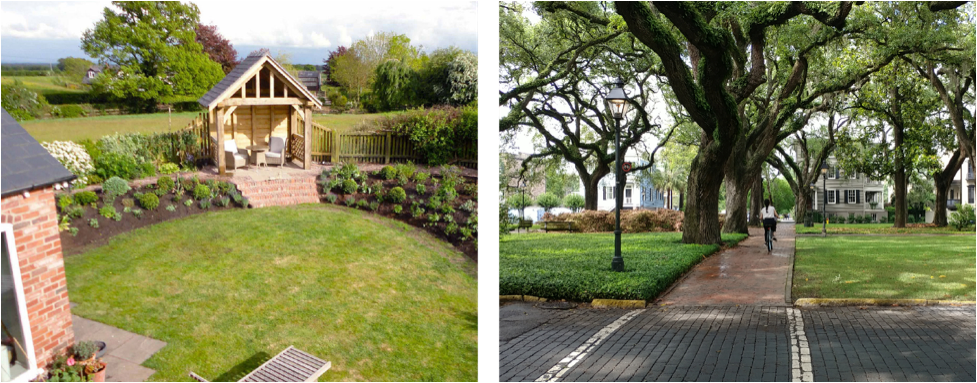 The image to the left is a rural garden in the UK designed and photographed by  Antonia Schofield. The image to the right is an urban Savannah square.