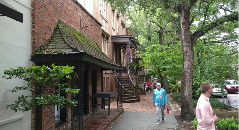 Walking between the gardens and staircase frontages as a pedestrian provides a sense of walking through a forest corridor.