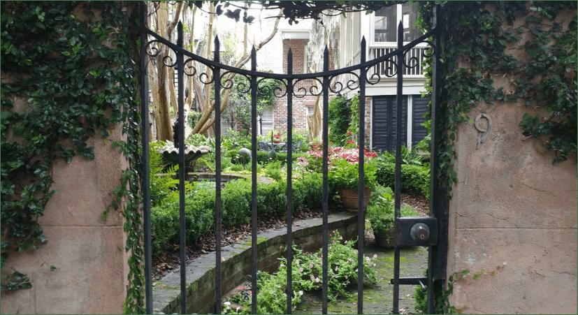 A beautiful private garden in downtown Savannah.