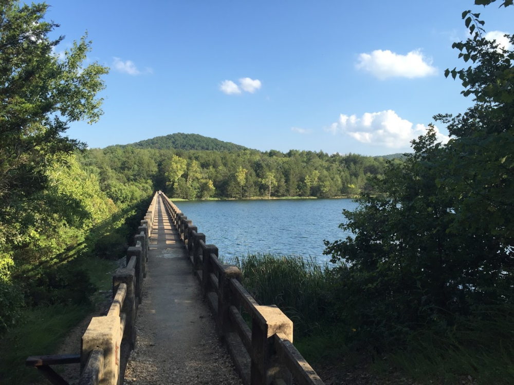 Trails are being used to connect natural features to nearby towns, such as the lakes near Blowing Springs and Eureka Springs. (Source: Craig Dieckman)