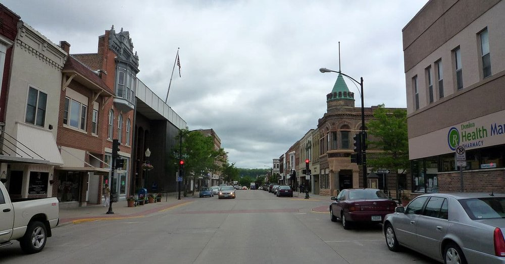 Downtown Decorah (population 7,918 — down 217 since 2010) is supported by Luther College (Source:  Bobak Ha'Eri )