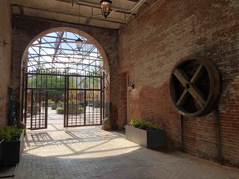 A look into the courtyard of the renovated Tennessee Brewery in Memphis.