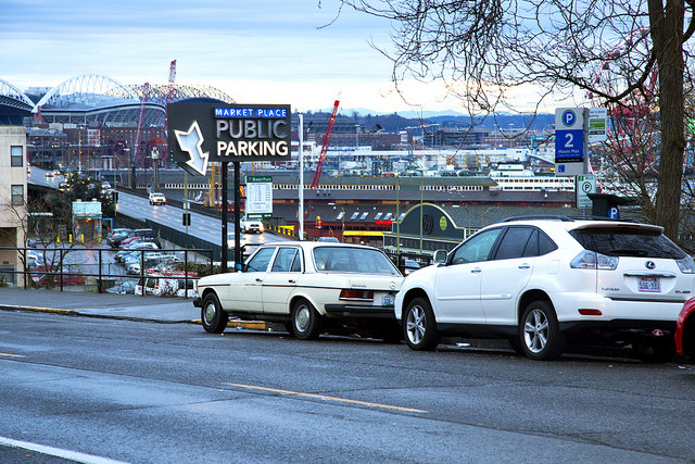 Parking in Seattle, where parking spaces outnumber residents more than 2 to 1. Source: Daniel Foster via Flickr. Creative Commons license.