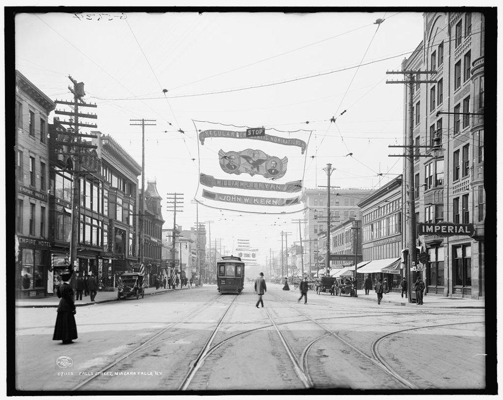 Downtown Niagara Falls, circa 1908 (Source: Niagara Falls Public Library)