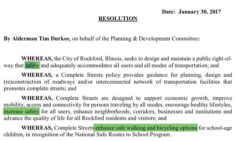Excerpt from Rockford's Complete Streets Policy