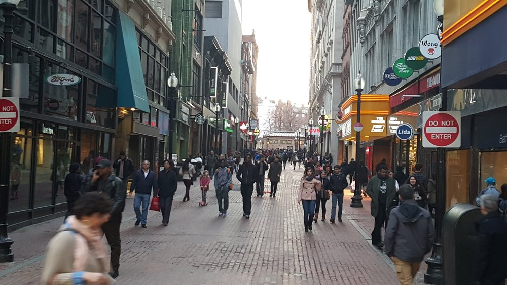 A shopping street at Boston's downtown crossing. 100% for people.