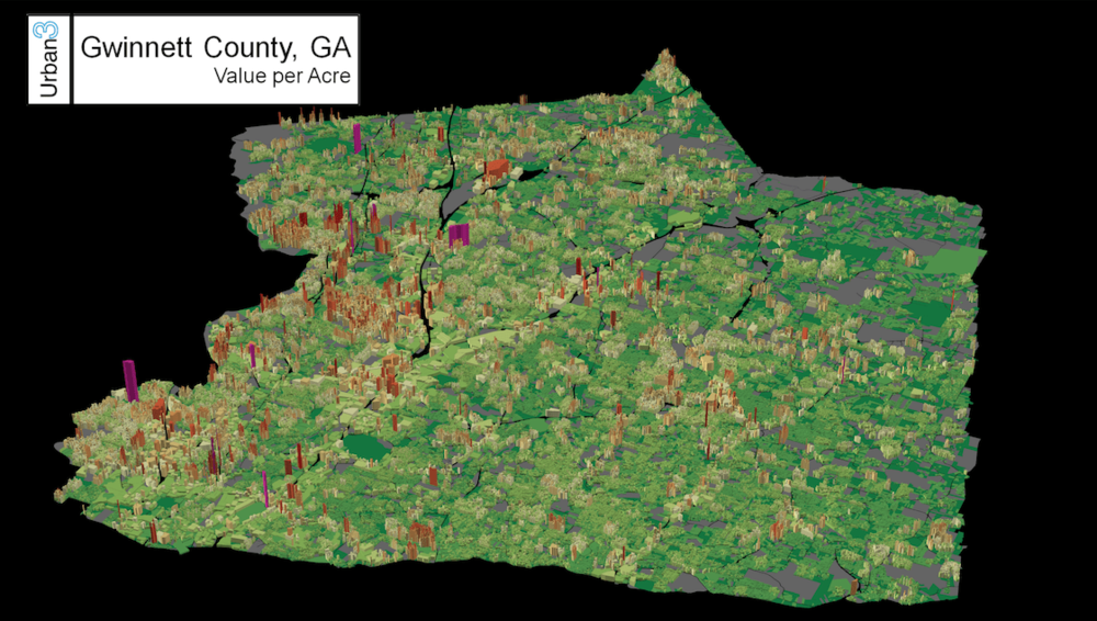 This image shows the tax value per acre of plots in Gwinnett County, GA. Taller red and purple plots are those with high tax value per acre. Lower green plots are those with little tax value per acre. (Source: Urban3)
