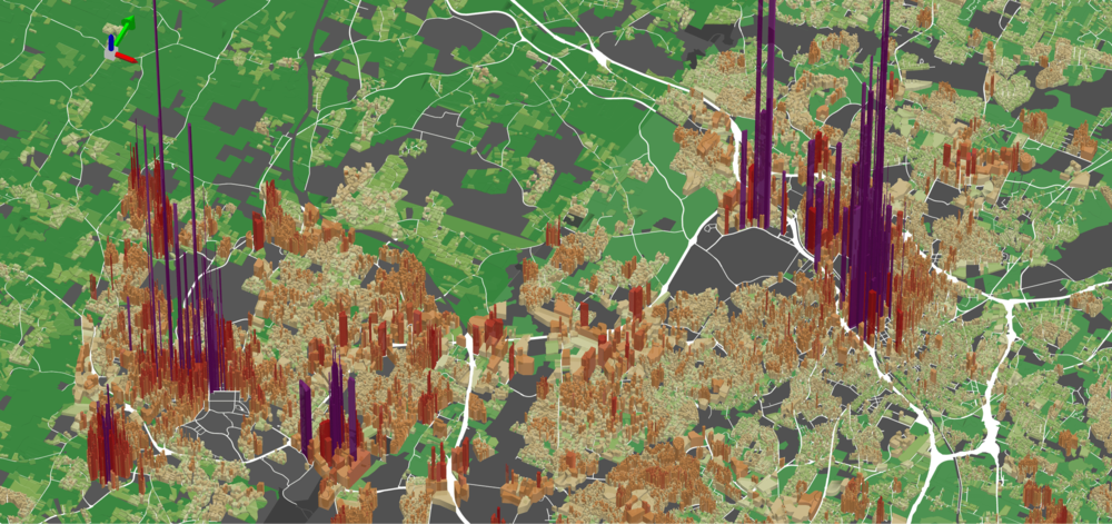 In the above tax value per acre visualization, Durham and Chapel Hill, only 22 miles apart, prove the possibility of two adjacent but distinct pockets of downtown wealth. (Source: Urban3)