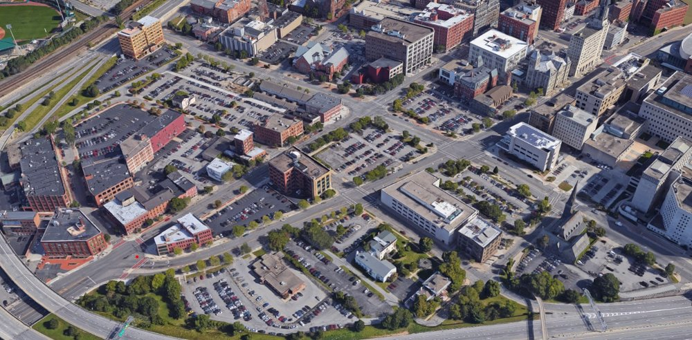 Aerial view of downtown Rochester from Google Earth.