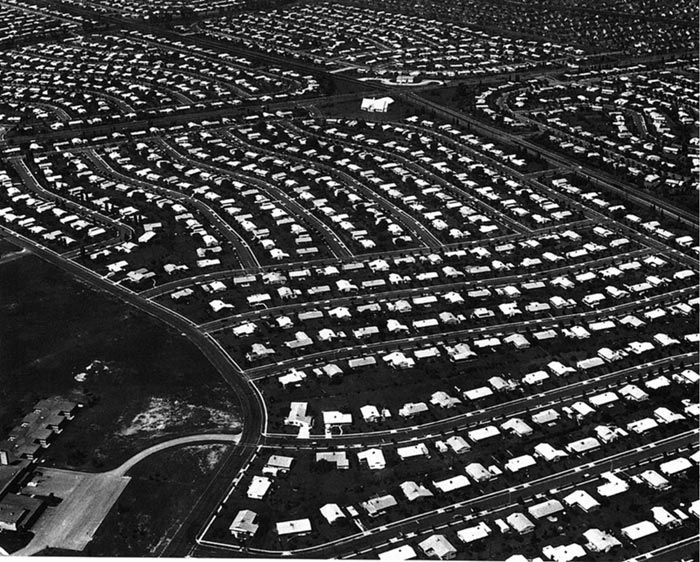 """The staggering growth of Levittown, PA, one of four prototypically suburban """"Levittowns"""" built in the early 1950s. Source: Wikimedia Commons"""