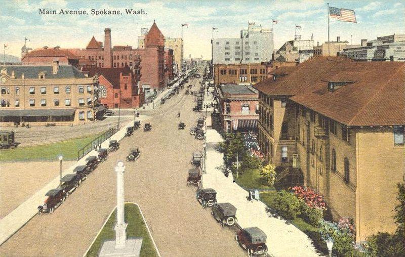 Postcard of Spokane in about 1920