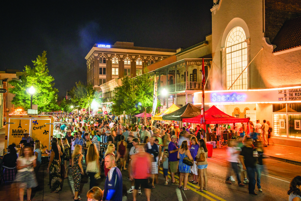 Gallery Night on Friday evenings draws a crowd to downtown Pensacola.
