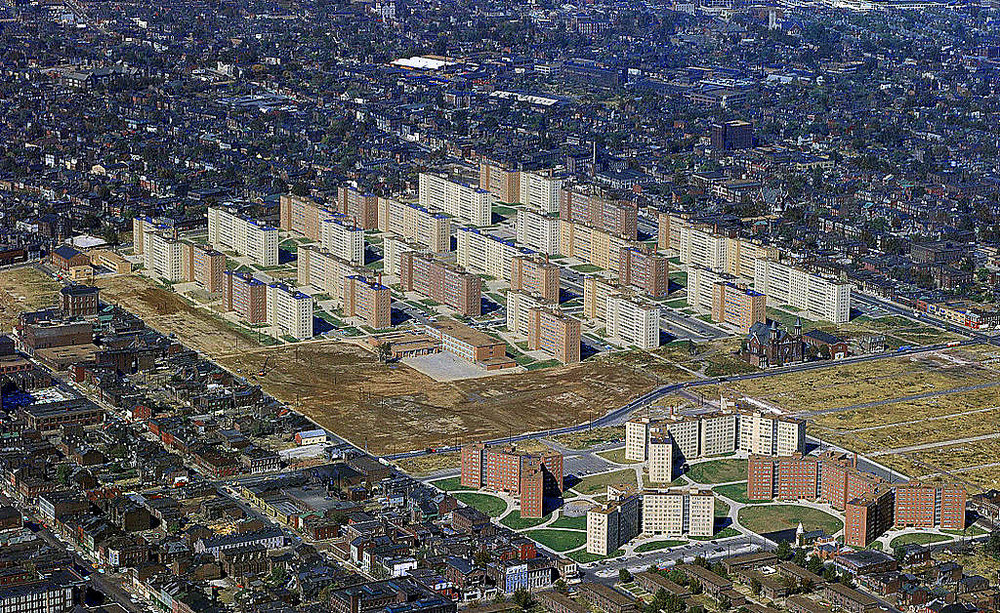 1956 aerial view of Pruitt-Igoe. Source: Joe Wolf via  Flickr .