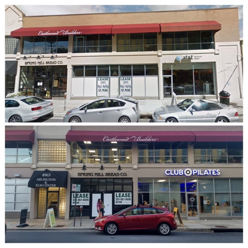 4982 Elm Street in downtown Bethesda went vacant when Ten Thousand Villages closed in April 2017 (top). The space was vacant for one year, until a Club Pilates location opened (bottom). Top image is a screenshot from Google Street View; bottom image by Daniel Warwick. Composite by the author.