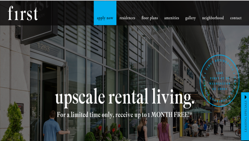 F1RST Residences is a new 325-unit apartment building in the Capitol Riverfront neighborhood. Screenshot of F1rst Residences website from August 21, 2018 by the author.