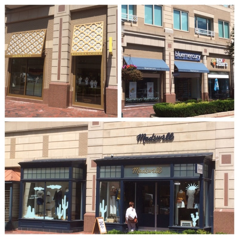 Facade improvements to brand storefront faces like these in Reston Town Center are an example of tenant improvements (TI) that are often paid for by the landlord. Image by Canaan Merchant.