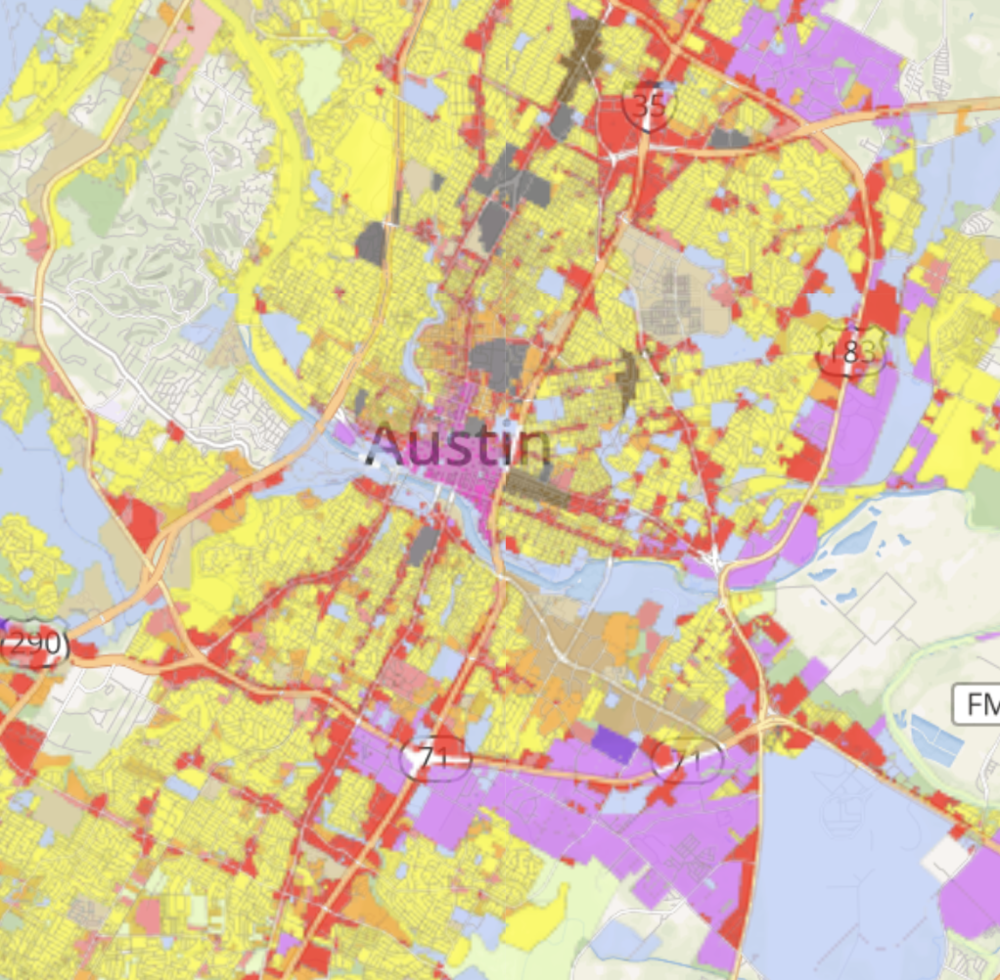 Current land use zoning in Austin (via CodeNEXT)