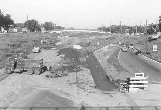 Construction of Interstate 94 in St. Paul, Minnesota, which led to the demolition of large parts of the historically African-American neighborhood of Rondo. (Source: Minnesota Historical Society)