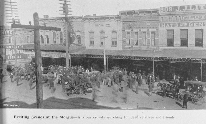 """Fort Smith's """"Old West"""" heritage is visible in this 1898 photo of residents gathering after a devastating tornado struck the city. (Source: NOAA's National Weather Service collection.)"""
