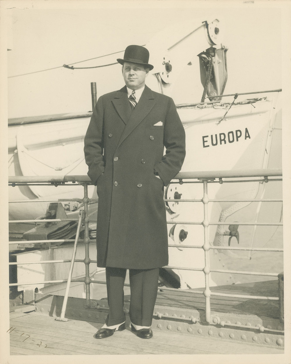 The dapper young designer Harley Earl sailing to Europe in 1932 for the annual auto shows