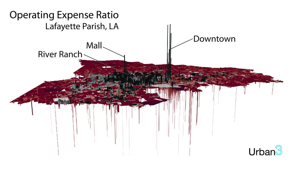 This image from Urban3 maps the properties of Lafayette, LA, in terms of net contribution per acre to the city's municipal coffers.   (Image credit: Urban3)
