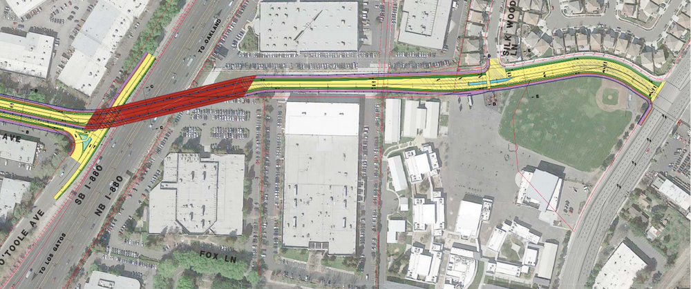 Current design plan for the Overpass, school with ballfield to the right. Classrooms bordering the new road in the middle of the picture. (Source: City of San Jose. Click to view larger.)