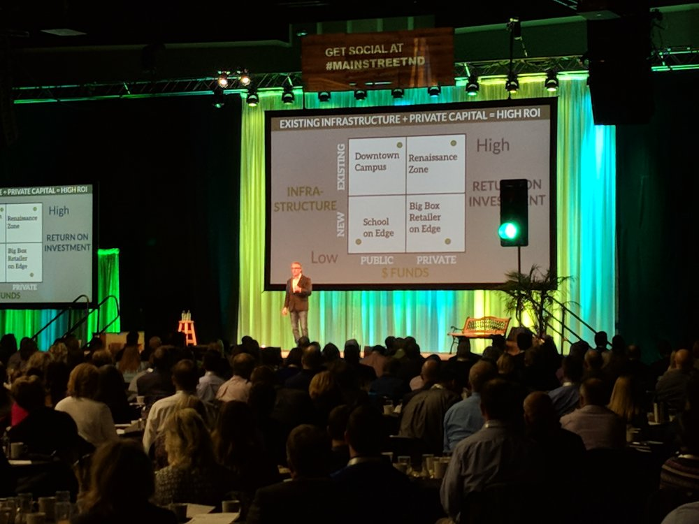 North Dakota Governor Doug Burgum presents at the Main Street ND Summit with Chuck Marohn.