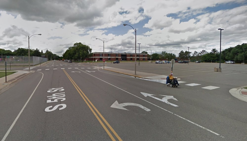 The existing parking lot at Brainerd High School on a non-school day. (Source: Google)