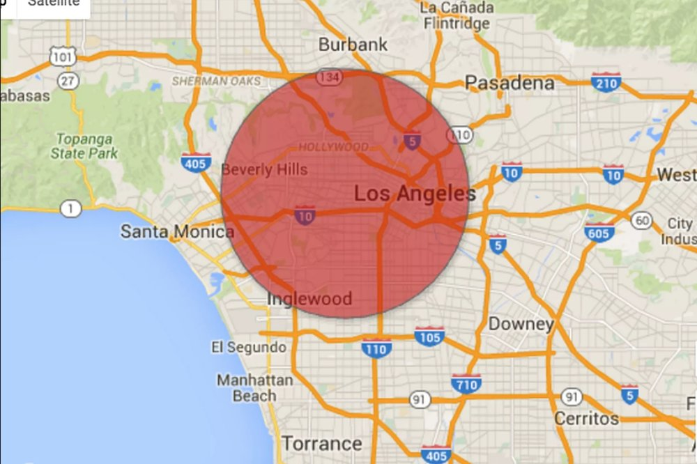 If you took every parking space in Los Angeles and combined them into one huge circle, this is how large it would be.