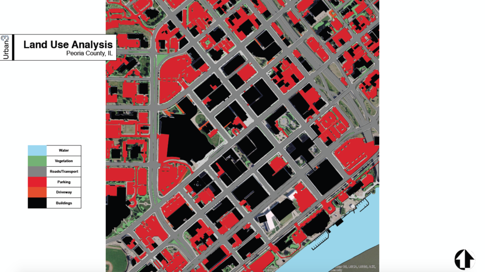 This map of downtown Peoria, IL shows the enormous amount of land devoted to parking. (Source:  Urban3 )