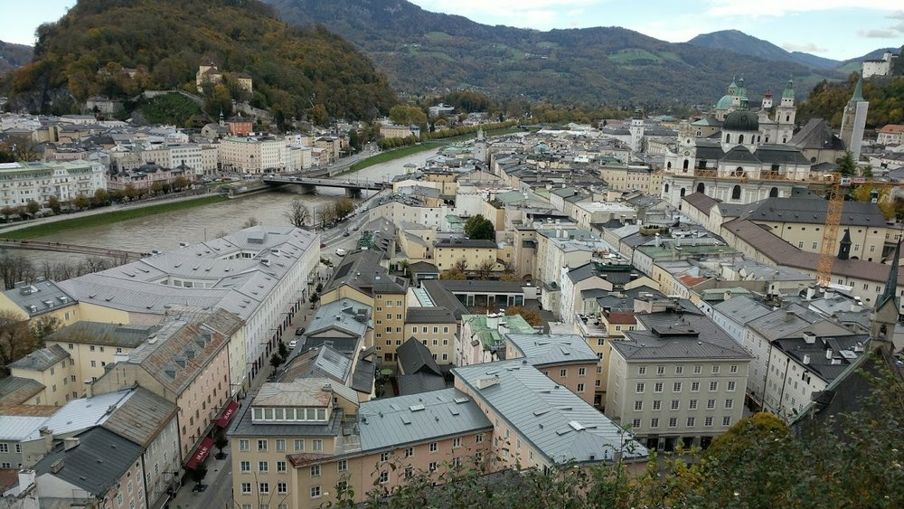 Overlooking Salzburg, Austria. Notice the jaggered rooftops, the inconsistent orientation and widths of buildings, and the slight curvature of every street. Nothing is perfect.