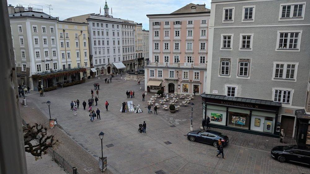 A large square in Salzburg, Austria.