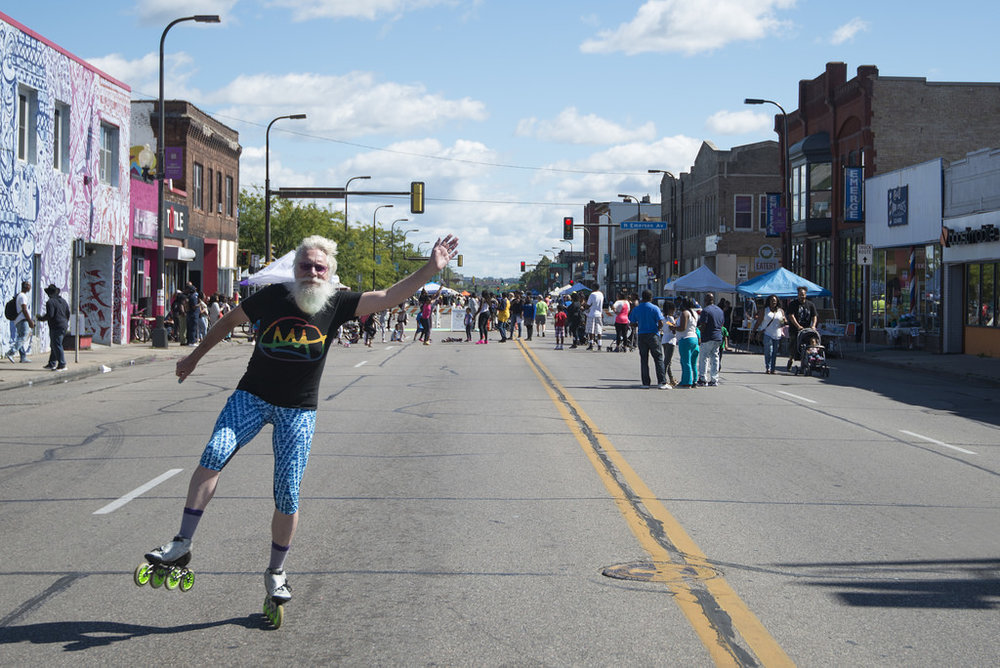 An Open Streets event on North Minneapolis's West Broadway in 2016. (Source: Flickr)