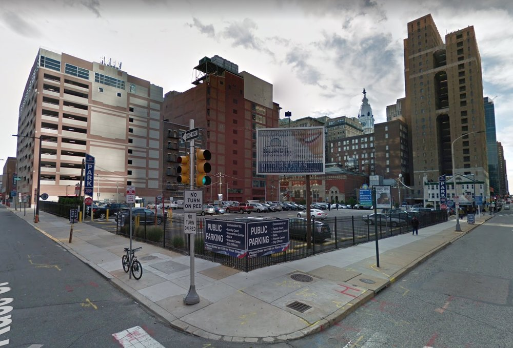 """A parking lot in central Philadelphia, with its owner's address listed as """"Parking Facilities Inc."""" Its  assessed market value  has quadrupled from 2013 to 2019, from $3.2 million to $12.8 million. The improvements are assessed at $0."""