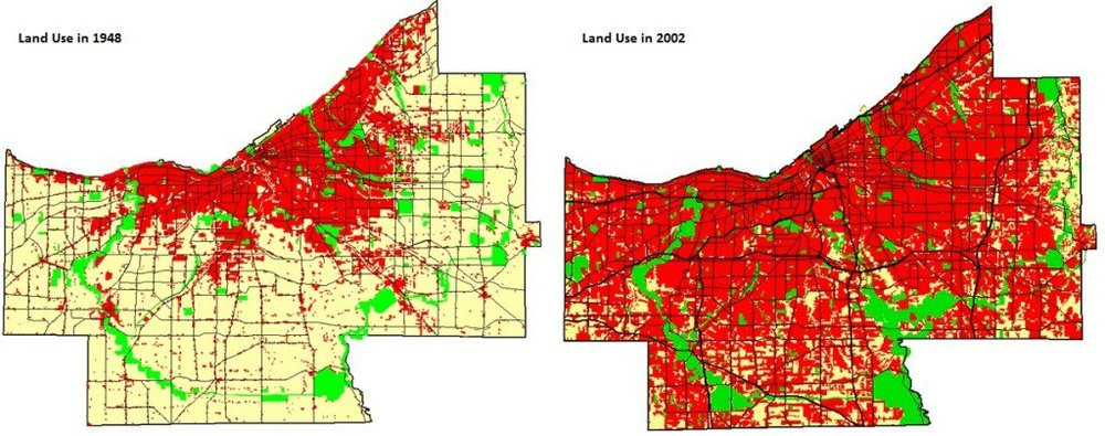 Map by Cuyahoga County, OH Planning Commission. The county had the same population in 1948 (left) as in 2002 (right).