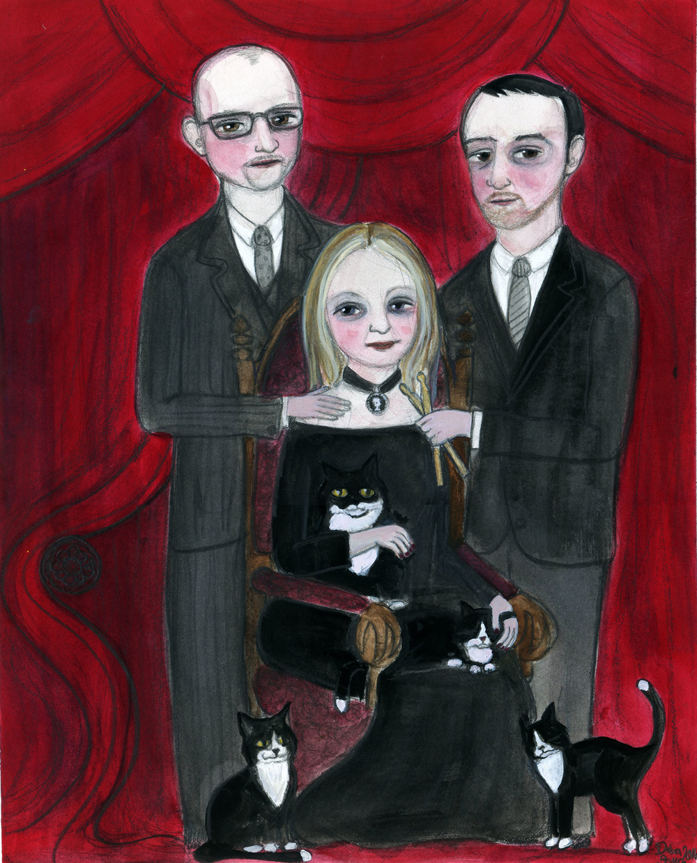 My latest Custom Portrait. I love the Victorian Gothness of this portrait. You gotta love those cats.