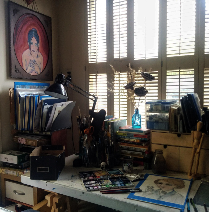 A view of my studio. I love light that shines in.