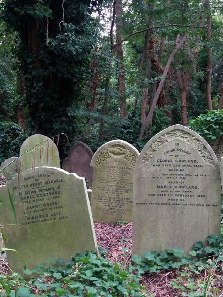 Graves rearranged by time at Highgate Cemetery.