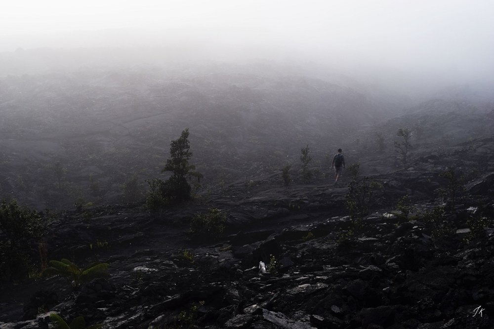 Hiking the Kilauea Iki trail at dawn in Hawaii Volcanoes National Park. Photo by Jacqueline Kehoe
