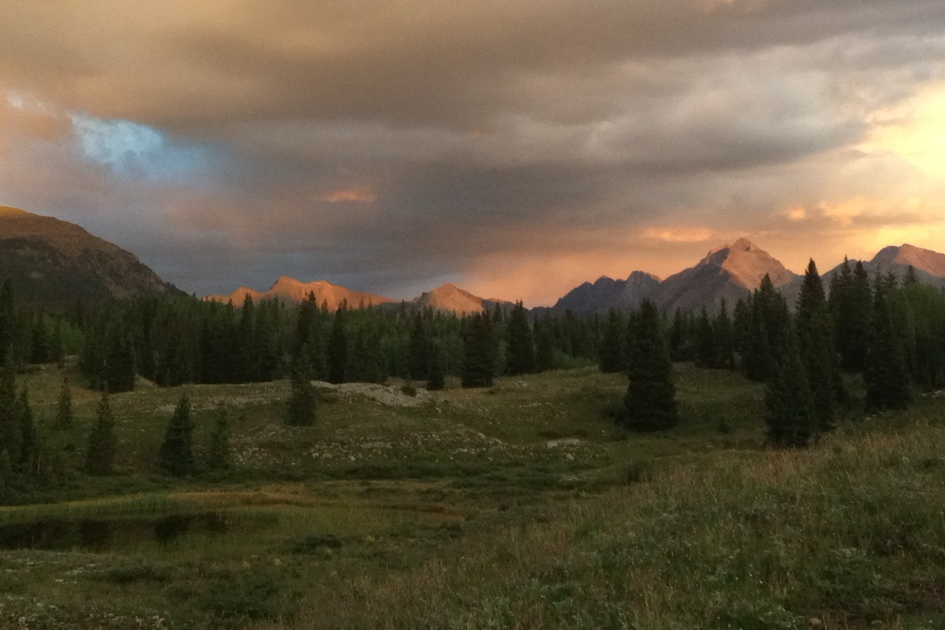 San Juan Mountains at sunset; near Silverton, Colorado (photo: Melanie Rice)