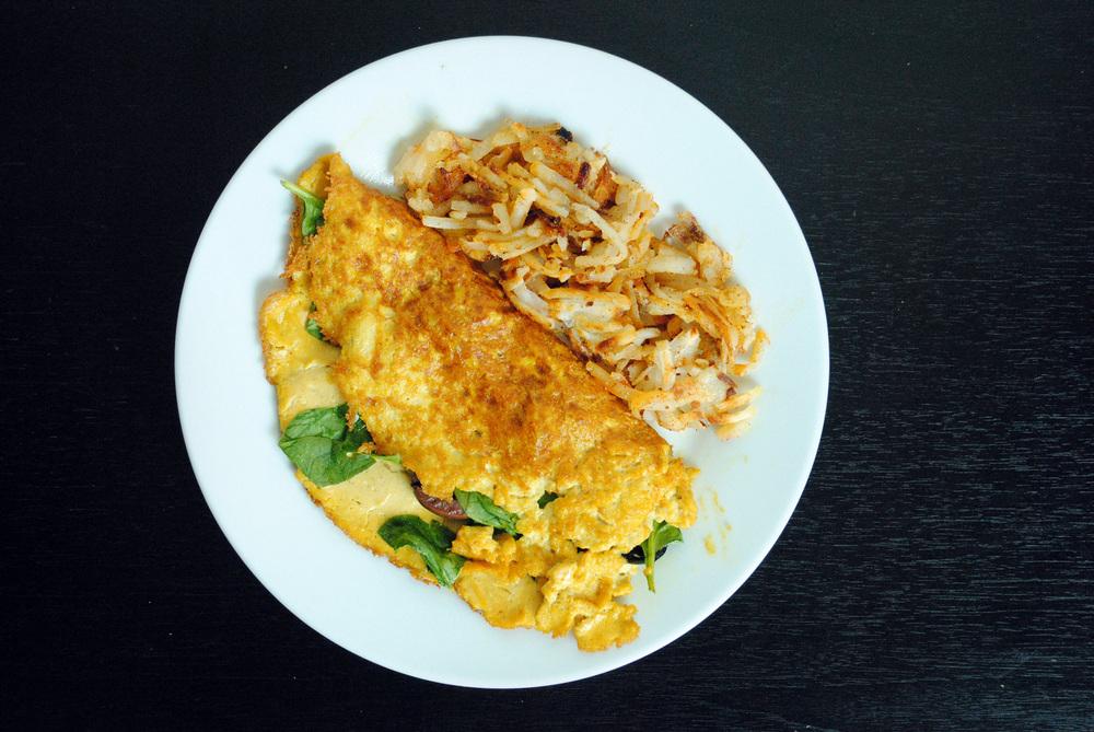 Vegan Tofu Omelet w/ Baby Spinach & Kalamata Olives