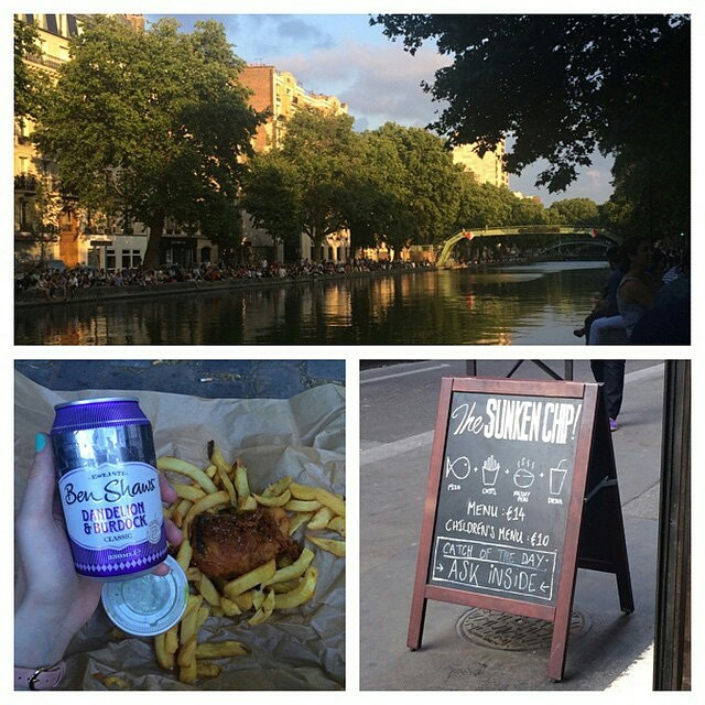 "#regram @irb22 ""After a horrendously hot day yesterday, sitting by Canal Saint Martin with fish, chips, the best mushy peas ever and a can of Ben Shaw's pop was just what the doctor ordered #sunkenchip #paris #75010 #canalsaintmartin #benshaws #dandelionandburdock"""