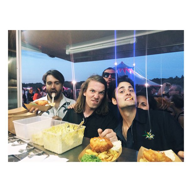 The boys from @thevaccines fueling up on some Fish and Chips after their gig at #Solidays. Thanks for the shout out on stage Vaccines! #RocknSole