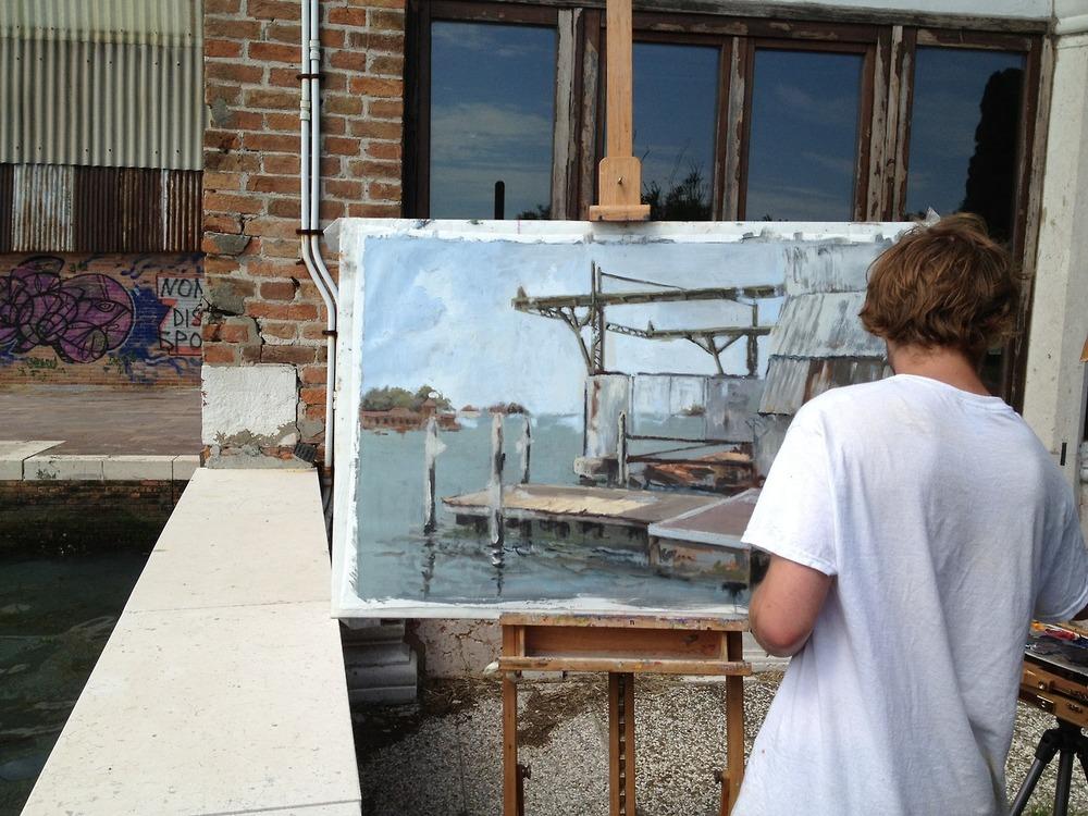 Painting Junior Luke Watson at work (photo: Chris Wright).