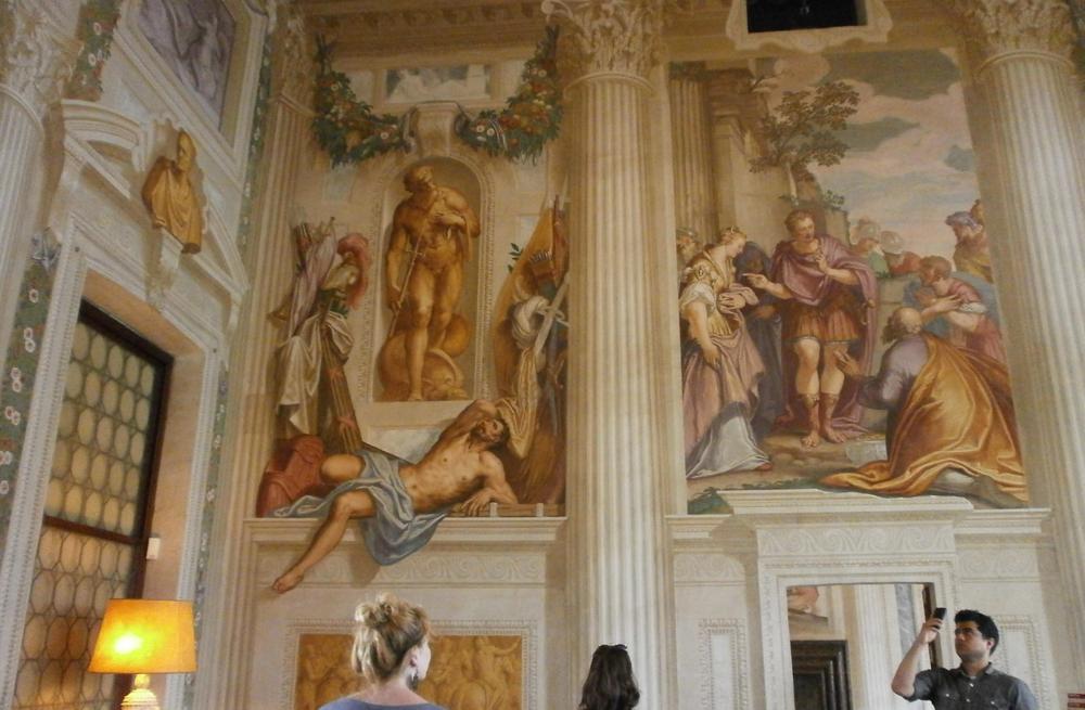 Students Lilian Thorpe, Jessie Novik and Anthony Vasquez observing Zelotti's frescoes in Palladio's Villa Emo (photo: Diana Gisolfi).