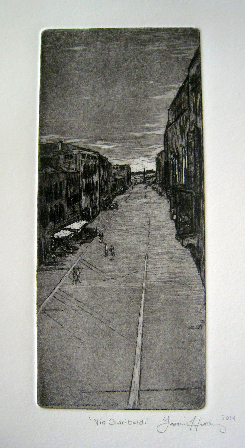Yasmina Huckins,  Via Garibaldi , aquatint, 2014