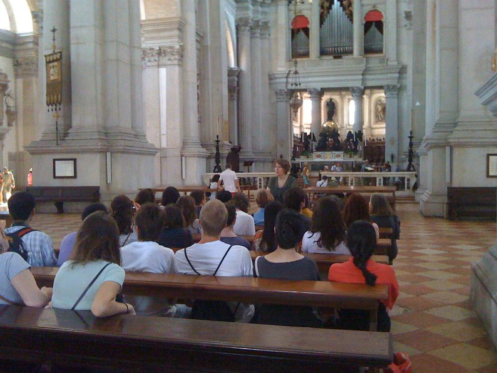 Tracy Cooper (Temple University) lecturing on Palladio's architecture in the church of San Giorgio Maggiore (photo: Joseph Kopta)