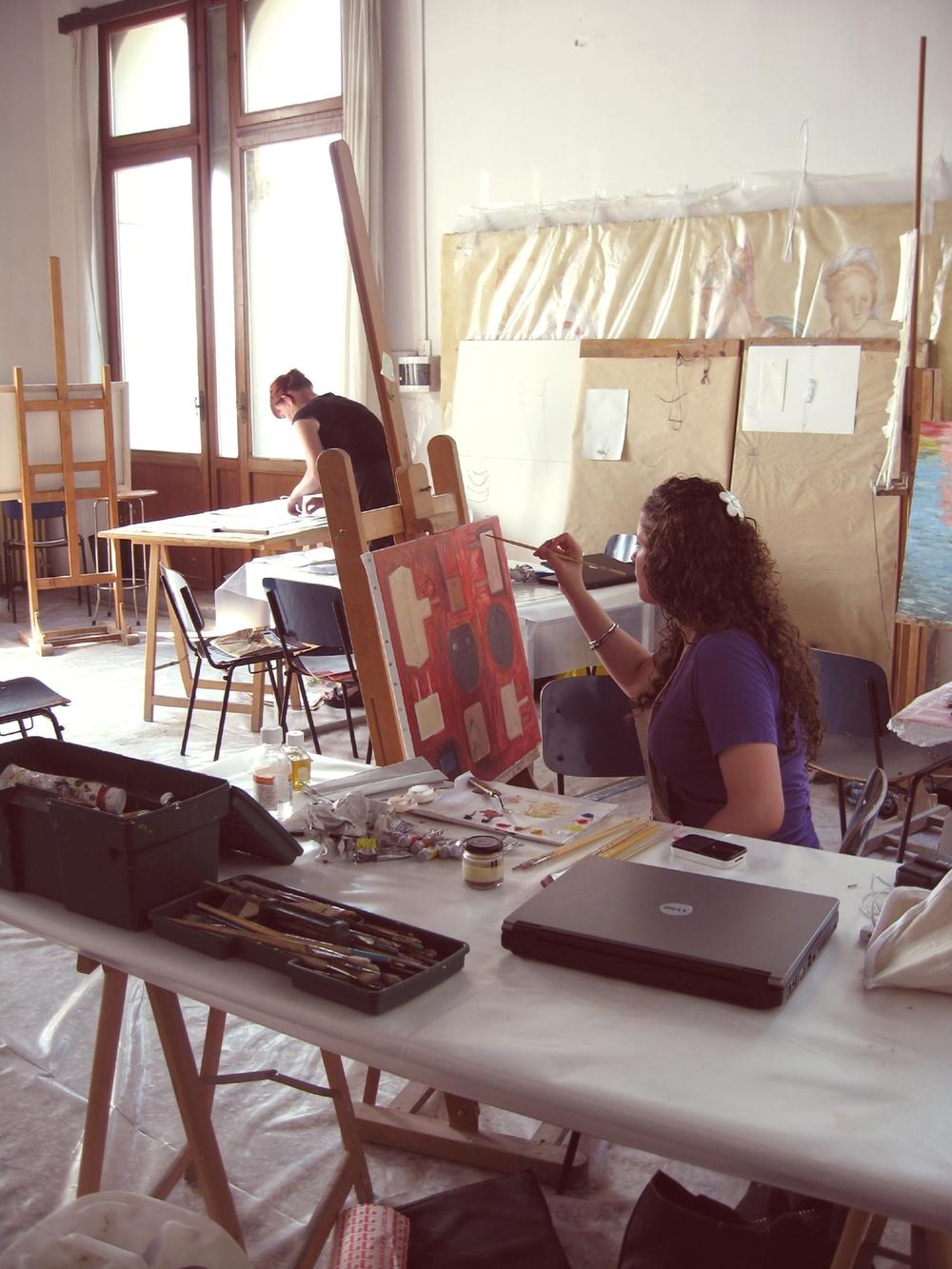 Jacqueline Merkher and Charlotte Meyer inside the UIA Painting Studio (Photo: Diana Gisolfi).