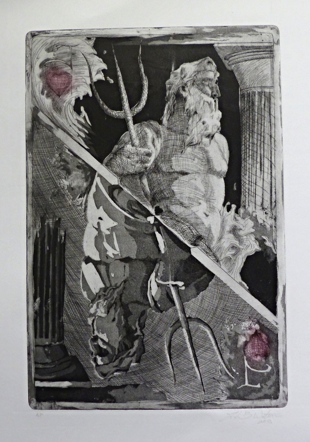 Luke Watson,  One Eyed Jack , engraving and aquatint, 2013
