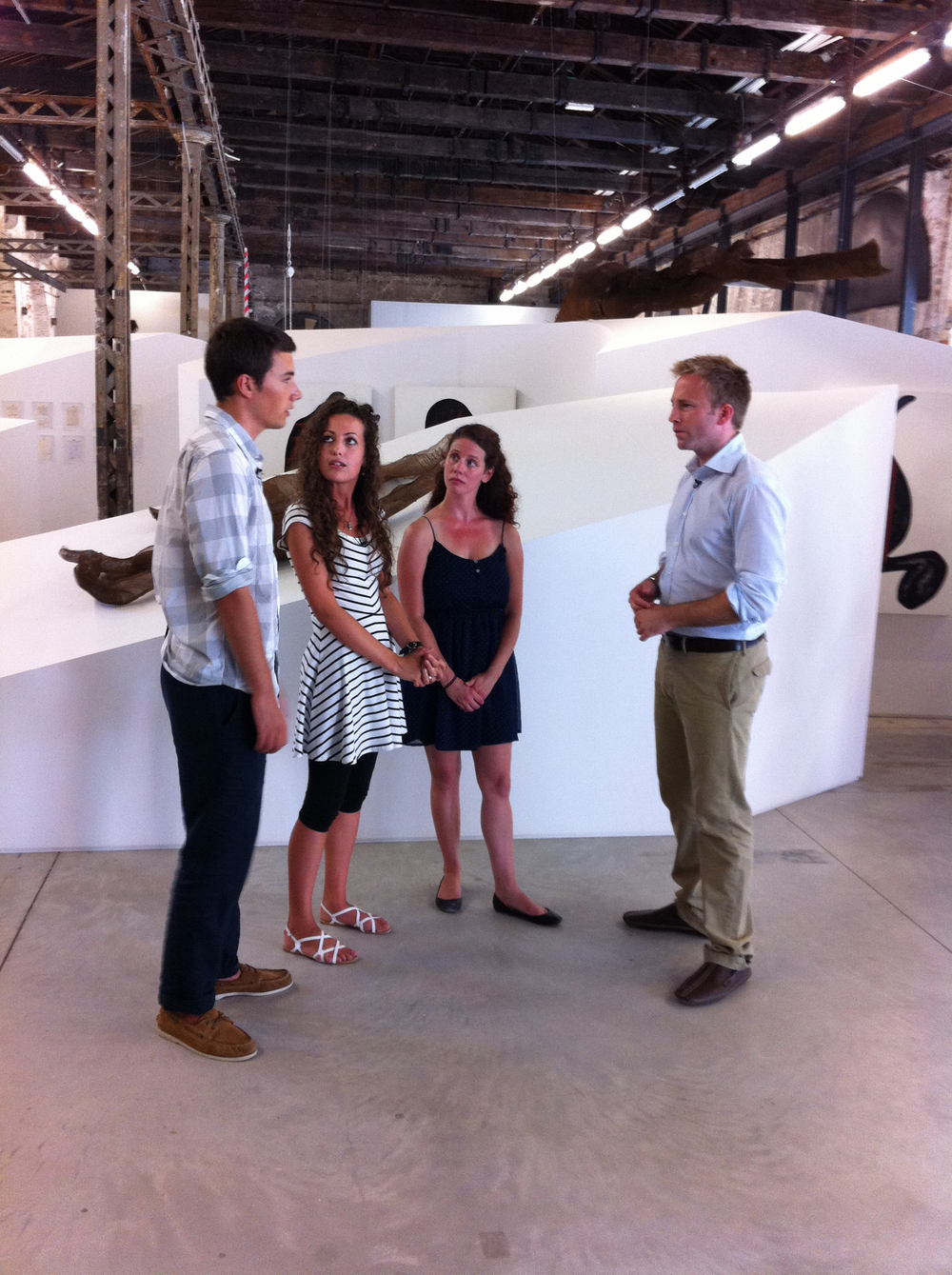 Art History Graduate Students Aurelia Moser, Jessica Kloville and Alex Watkins were interviewed by CBS reporter Seth Doane at the Arsenale during the Biennale (photo: Chris Wright).